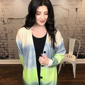 RAINBOW OMBRE COLOR BLOCK KNIT CARDIGAN
