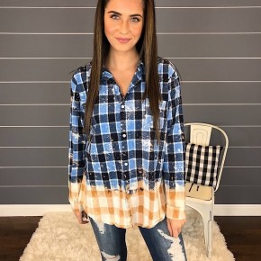 CAROLINA BLUE BLEACHED PLAID BUTTON DOWN