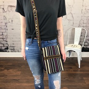 STRIPED EMBROIDERED MESSENGER BAG