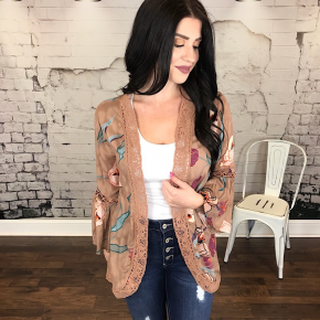 FLORAL PRINTED OPEN-FRONT CARDIGAN