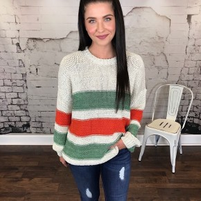 COLOR BLOCKED RUGBY STRIPE SWEATER