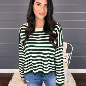 STRIPED BOATNECK PULLOVER SWEATER