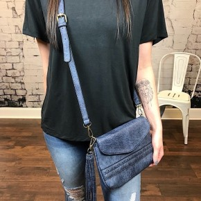 VEGAN LEATHER CROSSBODY BAG W/ TASSEL DETAIL