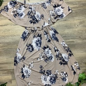Off The Shoulder Floral Dress with Overlay