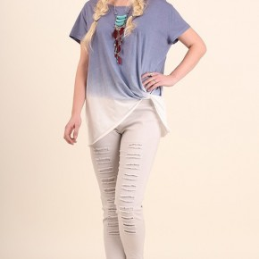 Plus Short Sleeved Ombre Top with Scrunch