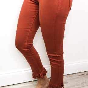 Copper Frayed Jeans