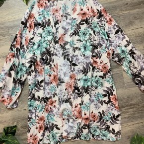 Medium Length Floral Cardigan