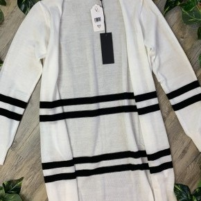 White with Black Striped Long Sleeve Cardigan