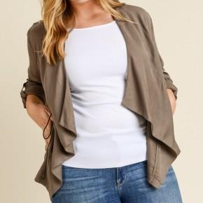 Plus size waterfall drawstring tencel jacket