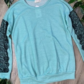 Long Sleeve Mint Sweater with Black Lace