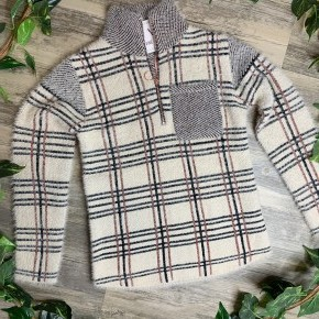 Plaid and Cream Fluffy Sweater