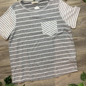Grey Stripe T-Shirt with Front Pocket