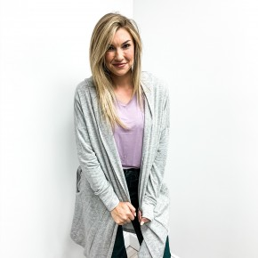 Soft Grey Hooded Cardigan
