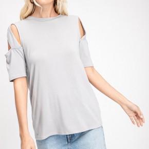 Grey Top with Open Shoulders