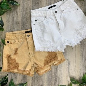 KanCan Colored Shorts with Distressing