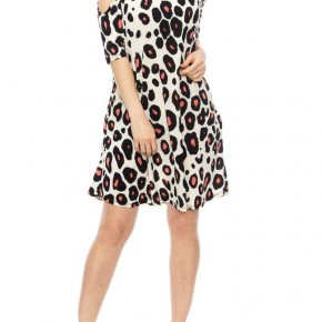 Animal Print Cold Shoulder Dress with Pockets