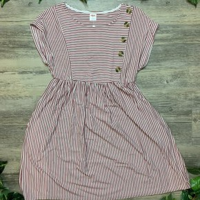 Short Sleeve Front Side Button Detail Dress
