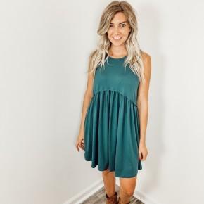 Green Ruffled Tank Dress