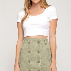 Washed Twill Skirt with Double Button & Pockets