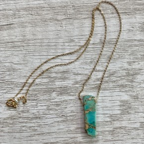 You Are My Rock Aqua Imperial Jasper Necklace- 18""