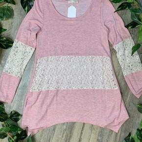 Heathered Blush Long Sleeve Shirt with Lace Midriff