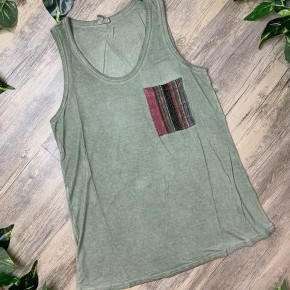 Olive Tank Top with Front Tribal Pocket