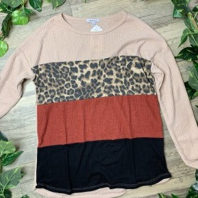 Long Sleeve Leopard Color Block Sweater