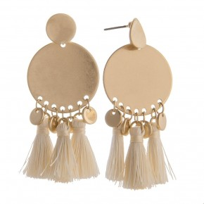 Short gold earring with short tassels