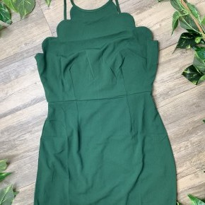 Hunter Green Scallop Edged Dress