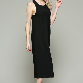 Round Neck Sleeveless Column Midi Dress