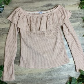 Off The Shoulder Waffle Long-sleeve