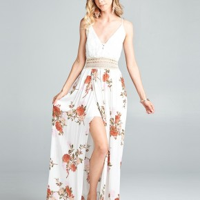 Lace bodice printed floral maxi dress