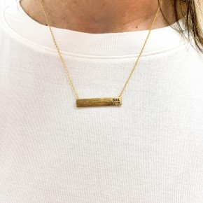 Soul Sisters Yellow Gold Bar Necklace