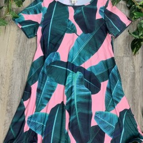Dress with Green Leaves and Pink Background