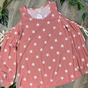Blush Cold Shoulder with Stars and Tie Sleeves