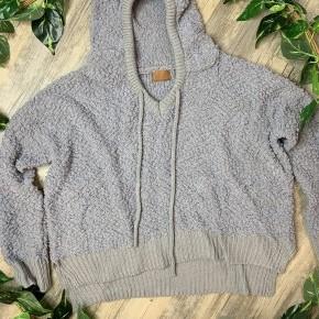 Step Hem Alpaca Textured Grey Hoodie