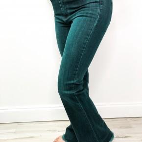High-Waisted Frayed Flare Jeans