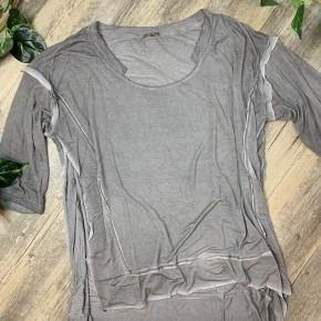 Scoop Neck 3/4th Sleeve Top with High Side Slits