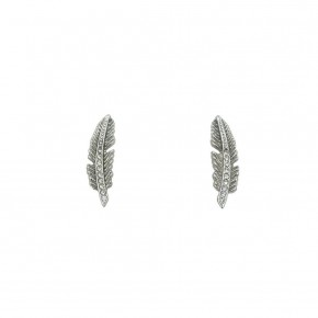 Silver Quill Stud Earrings- Kinsley Armelle