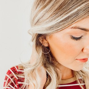 Gold Hoop Stud Earrings