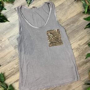 Mystic Grey Sleeveless Top with Glitter Pocket