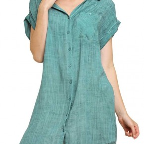 Mineral Wash Collard Button up Dress