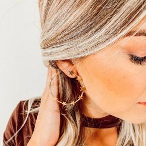 Gold Ombre Star Hoop Earrings