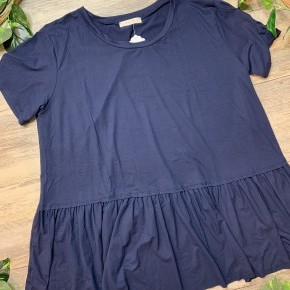 Navy Pleated Bottom Shirt