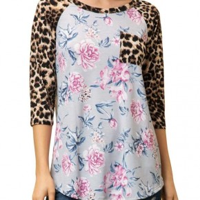 Leopard Sleeve with Floral Print