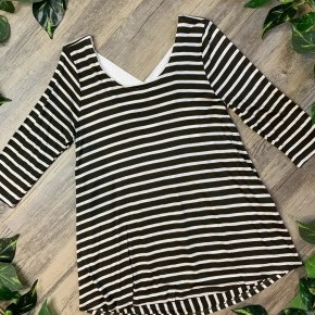 Olive and White Striped 3/4th Sleeve Top