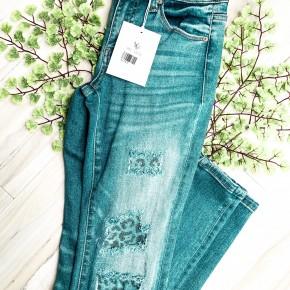 Kancan Leopard Patched Jeans