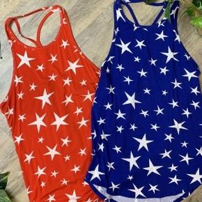Sleeveless Star Print Knit Top