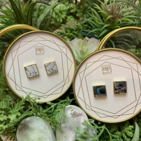 Tell Me About It, Stud! Marble/Abalone Earrings