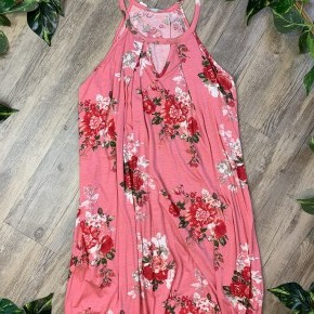 Floral Pink Pleated Dress with Pockets